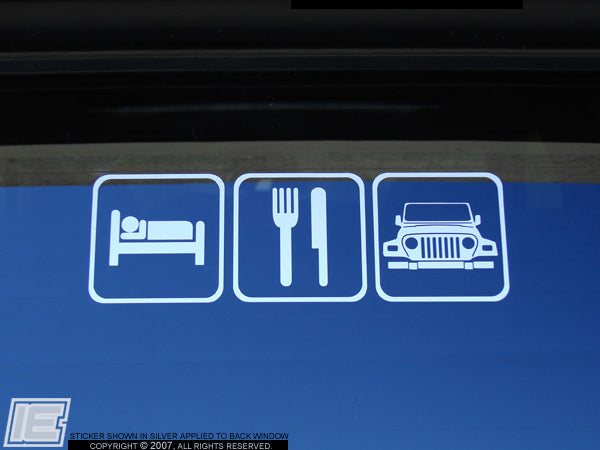 "Jeep Wrangler ""Sleep, Eat, Wrangler"" Decal 1997-2006"