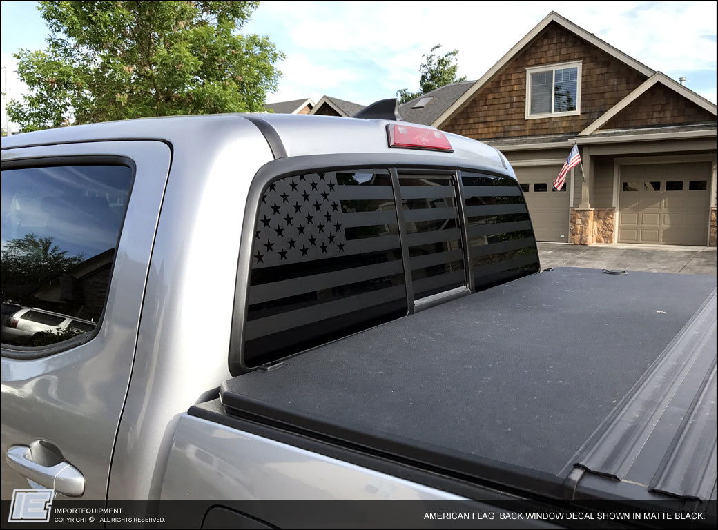 Toyota tacoma american flag rear window decal 2016
