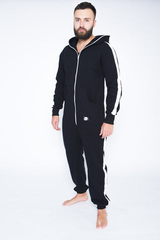Sofa Killer black onesie with white vertical lines