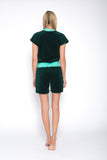 Sofa Killer emerald green short velour onesie
