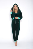 Sofa Killer emerald green velour onesie