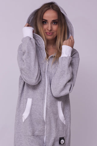 Sofa Killer light grey onesie with white cuff