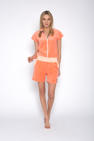 Sofa Killer peach color short summer velour onesie