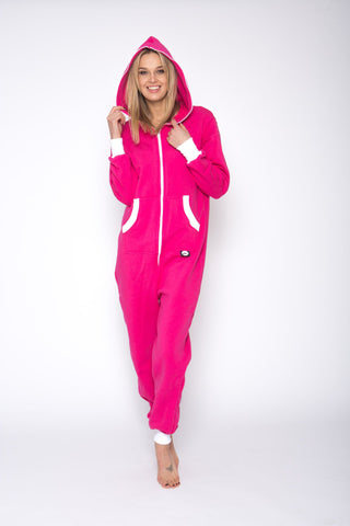 Sofa Killer pink onesie with white cuff