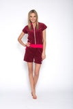 Sofa Killer red wine color short summer velour onesie