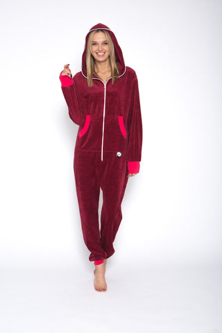 Sofa Killer red wine color summer velour onesie