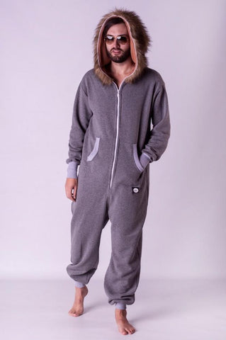 Sofa killer grey onesie with fur hood