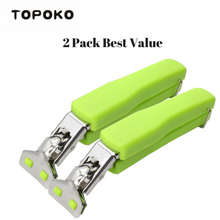 TOPOKO Stainless Steel Retriever Tongs / Gripper Clip for Hot and Cold Plate, Bowl, Dish, Tray. Perfect Accessory for Retrieve from Instant Pot, Microwave, Oven, Pot. Green Color - 2 Pack