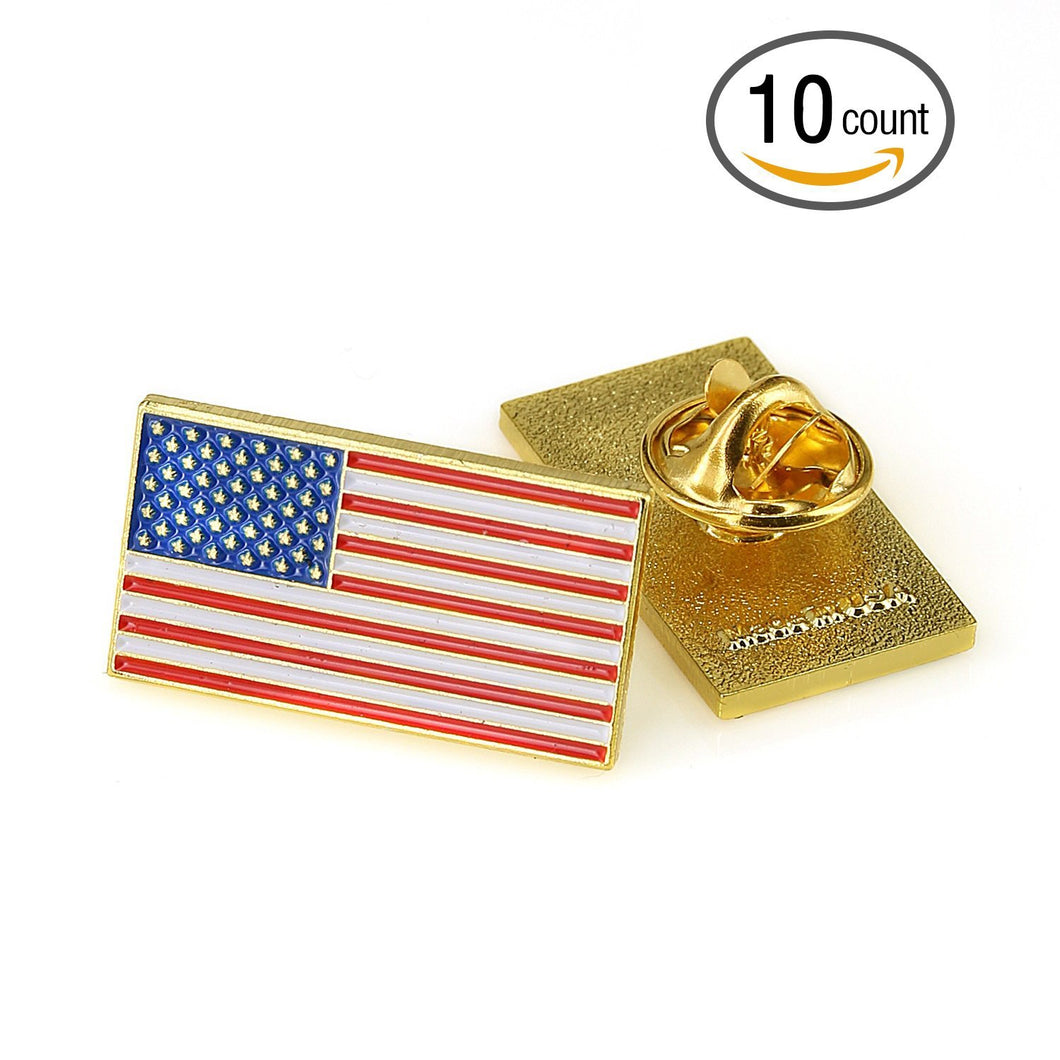 Exquisite American Flag Lapel Pin - The Stars and Stripes Lapel Pin (Rectangle 10 Pack)