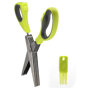 Multipurpose Kitchen Shear Herb Scissors 5-Layers Stainless Steel Blades with Comfortable Grip ABS Plastic Handles and Cleaning Brush&Comb for Kitchen or Other Cutting