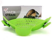 Snap'n Strain Silicone Clip On Food Strainer Spout Tool Drainer For Spaghetti, Pasta, Ground Beef - Universal Fit On All Pots and Bowls, Flexible and Small For Space Saving - Green