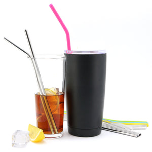 Stainless Steel Straws + 4 Silicone Straw FDA Approved Ultra Long 10.5'' Drinking Metal Straws For Stainless Tumblers-Fit 20 & 30 Ounce