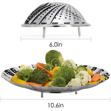 "Premium Vegetable Steamer Basket 5.5-9.3"" Best Bundle, Fits Instant Pot Pressure Cooker, 100% Stainless Steel, Bonus Accessories One Serving Tongs and One Silicone Pad"