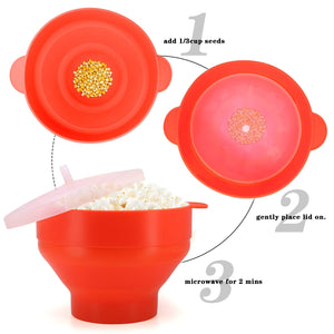 Microwave Popcorn Popper, BPA Free Silicone Hot Air Microwavable Popcorn Maker Bowl - Use In Microwave, Oven - Orange