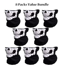 Skull Half Face Mask Scarf Seamless Construction, Lightweight UV & Dust Protection Outdoors | Fishing, Hunting, Biking, Hiking Balaclava - 8 Pack