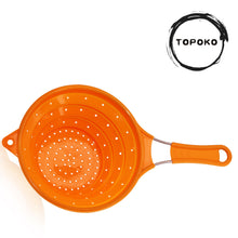 Collapsible Silicone Colander for Kitchen Use - Food Strainer with Stainless Steel Handle, 100% BPA Free and Food Grade Silicone, Perfect for Rinsing or Draining Pasta, Vegetables and Fruits - Orange