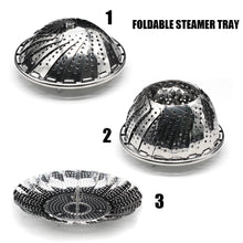 Vegetable Steamer Basket, Fits Instant Pot Pressure Cooker 5/6 QT and 8 QT, 18/8 Stainless Steel, Folding Steamer Insert For Veggie Fish Seafood Cooking, Expandable to Fit Various Size Pot