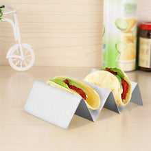 "Food Grade Stainless Steel Taco Holder Stand, Taco Truck Tray Style, Rack Holds Up to 3 Tacos Each, Oven Safe for Baking, Dishwasher and Grill Safe, 4"" x 8"""