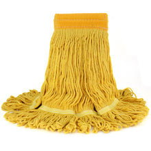 Bonison Commercial Use Wringer Style Replacement Mop Head For Clamp Mop With Looped Ends And Yarn Tailband, Heavy Duty And Long Lasting (1, Yellow)