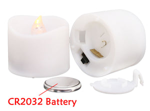LED Battery Flameless Candle, Realistic and Bright Flickering Tea Light for Seasonal, Holiday, Christmas Celebration. Electric Fake Candle in Warm White and Wave Open - 12 Pack