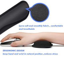 Mouse Wrist Rest Pad Keyboard Wrist Rest Support Memory Foam Set for Easy Typing Wrist Pain Relief Ergonomic Design Durable Lightweight Anti-Skid Wrist Cushion for Office/Gaming/PC/Laptop/Mac - Black