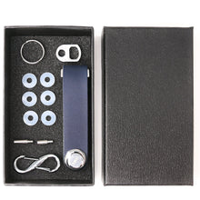 Compact Key Chain Organizer With Leather Strap, Smart Key Ring Holds 8 Keys and Tools, Perfect For Pockets, Purses, and Bags - Navy