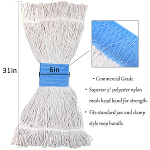 Bonison Commercial Use Wringer Style Replacement Mop Head For Clamp Mop With Looped Ends And Yarn Tailband, Heavy Duty And Long Lasting (1, White)