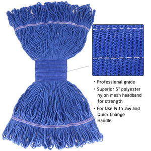 Bonison Commercial Use Wringer Style Replacement Mop Head For Clamp Mop With Looped Ends And Yarn Tailband, Heavy Duty And Long Lasting (1, Blue)