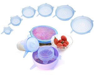 6 Sizes Silicone Stretch Lids Food Storage Covers lids Seal Bowl Stretchy Wrap Covers Keep Food Fresh for Bowls, Containers, Cups, Plates, Cans, Jars, Pots, Microwave Food Cover Reusable