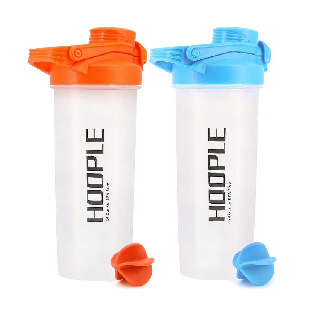 Shaker Bottle for Protein Mixes Cups Powder Blender Smoothie Shakes - 24 Ounce 2 Pack