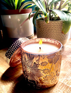 SouLuxe Rose Gold Lotus 10oz. Candle with Lid