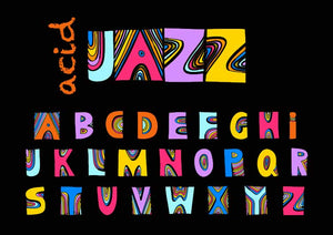 Rafa Selase acid jazz music image that uses all the colors in the spectrum with black background and acid jazz in writing