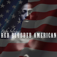 Rafa Selase Protest Songs album artwork of in shape shirtless black man with American flag over the entire image