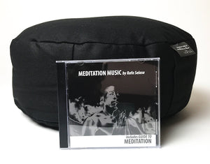black sitting cushion pillow with meditation music cd