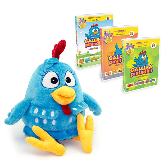 Combo Pack: Lottie Dottie Chicken Plush Toy + DVDs Vol. 1 + 2 + 3