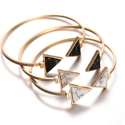 Arrows Marble Open Bangles