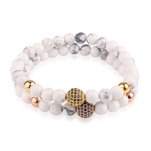 Carrara Marble and Paved Beads Bracelet