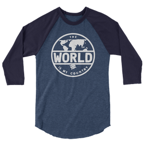 'The World' - White Font 3/4 sleeve raglan shirt