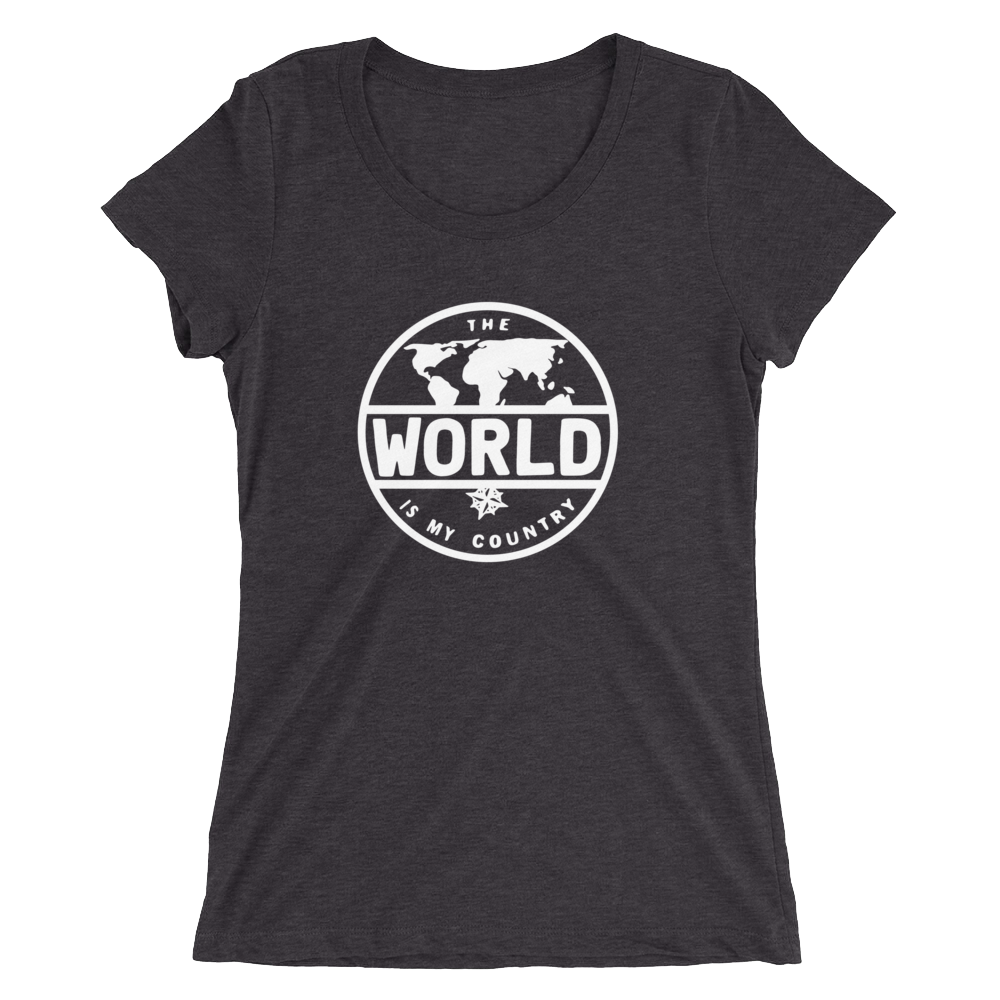 'The World' - Front White Logo Ladies' short sleeve t-shirt