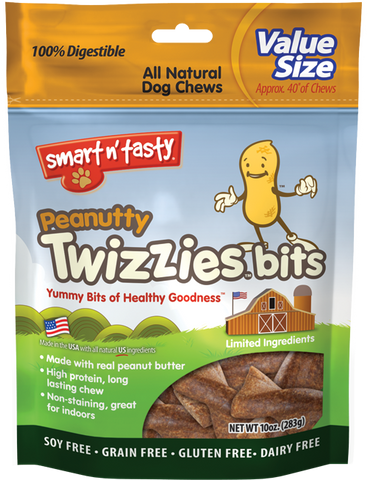 Smart n' Tasty Grain Free Peanutty Twizzies Bits Dog Treats