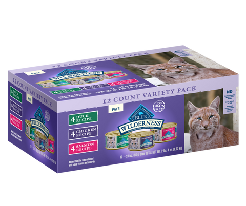 Blue Buffalo Wilderness Duck, Salmon and Chicken Variety Pack Canned Cat Food