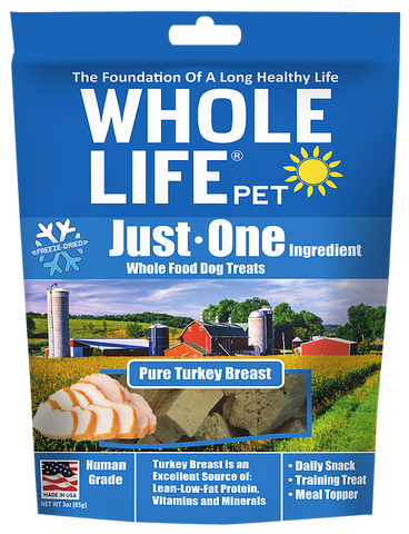 Whole Life Just One Grain Free Pure Turkey Breast Freeze Dried Dog Treats