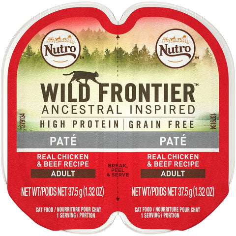 Nutro Wild Frontier Perfect Portions Grain Free Real Chicken & Beef Pate Wet Cat Food Trays