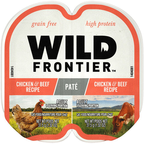 Wild Frontier Perfect Portions Grain Free Real Chicken & Beef Pate Wet Cat Food Trays