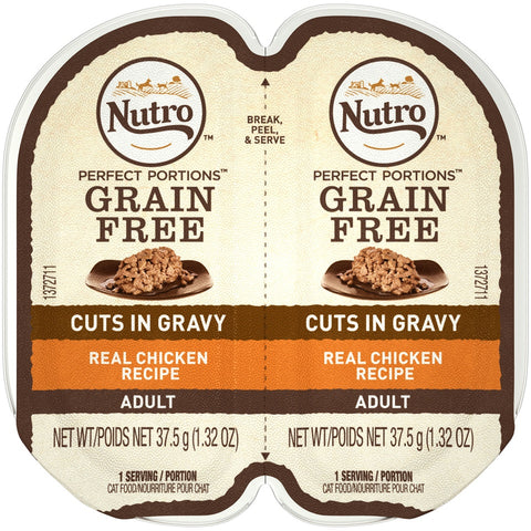 Nutro Perfect Portions Grain Free Cuts In Gravy Real Chicken Recipe Wet Cat Food Trays