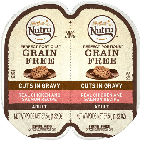 Nutro Perfect Portions Grain Free Cuts In Gravy Real Chicken & Salmon Recipe Wet Cat Food Trays
