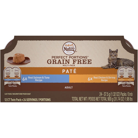 Nutro Perfect Portions Grain Free Salmon & Tuna and Chicken & Shrimp Pate Wet Cat Food Tray Variety Pack