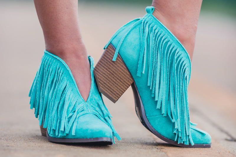 Santa Fe Fringe Booties - Mint - West Avenue
