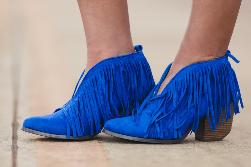 Santa Fe Fringe Booties - Royal Blue - West Avenue