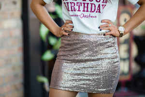 Bronze Sequin Skirt - West Avenue